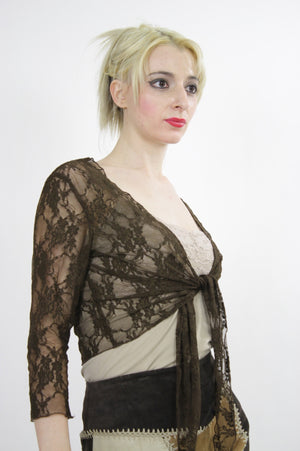 Vintage 90s grunge sheer lace crop top - shabbybabe  - 2