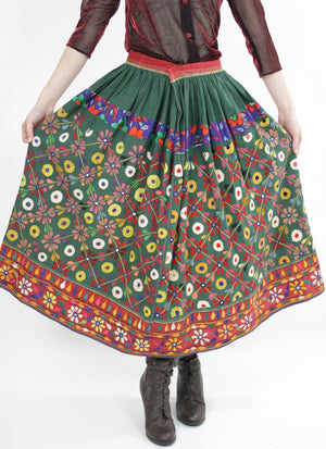 Vintage 70s Embroidered Hippie India Mirror skirt - shabbybabe  - 6