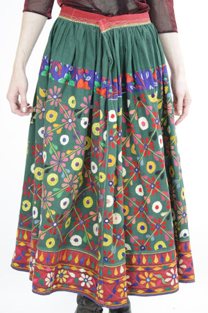 Vintage 70s Embroidered Hippie India Mirror skirt - shabbybabe  - 2