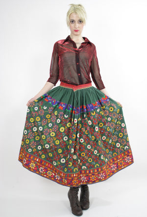 Vintage 70s Embroidered Hippie India Mirror skirt - shabbybabe  - 4