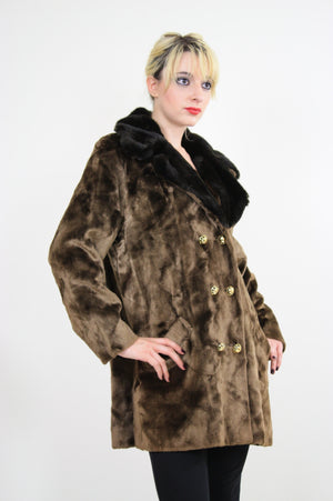 Vintage 60s Boho Hippie double breasted faux fur Coat - shabbybabe  - 1
