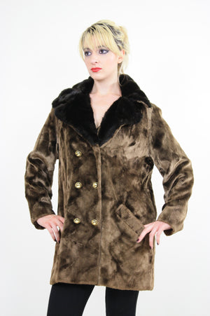 Vintage 60s Boho Hippie double breasted faux fur Coat - shabbybabe  - 3