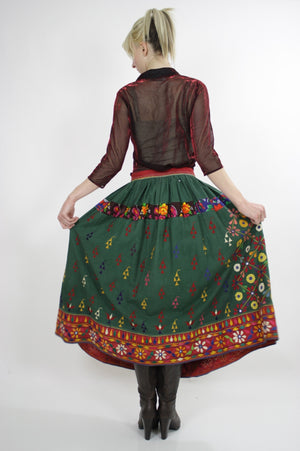 Vintage 70s Embroidered Hippie India Mirror skirt - shabbybabe  - 5