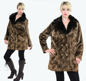 Vintage 60s Boho Hippie double breasted faux fur Coat - shabbybabe  - 2