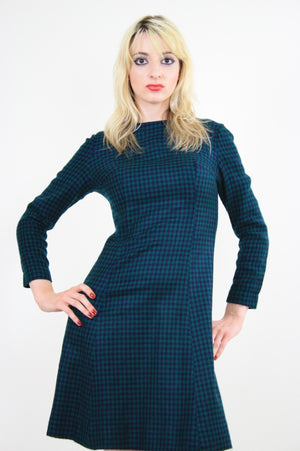Vintage 60s Mod Wool Houndstooth check mini dress - shabbybabe  - 1