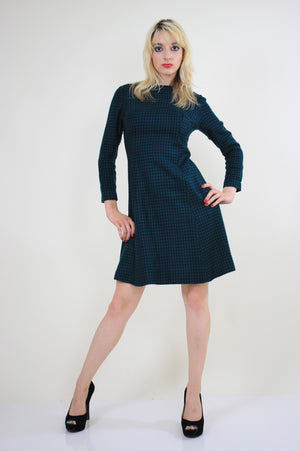 Vintage 60s Mod Wool Houndstooth check mini dress - shabbybabe  - 4