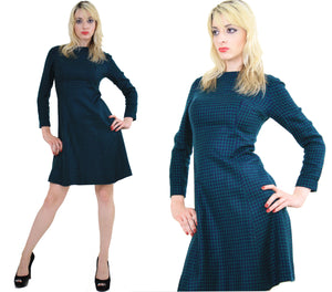Vintage 60s Mod Wool Houndstooth check mini dress - shabbybabe  - 3