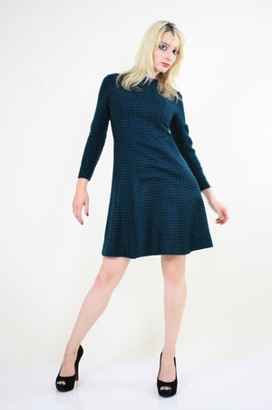 Vintage 60s Mod Wool Houndstooth check mini dress - shabbybabe  - 2