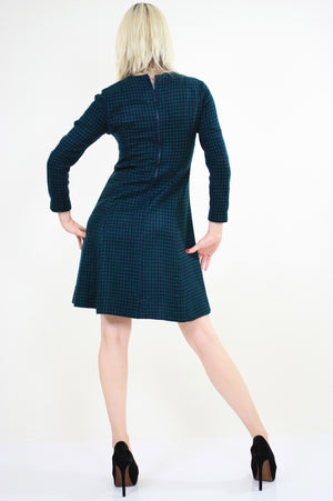 Vintage 60s Mod Wool Houndstooth check mini dress - shabbybabe  - 5