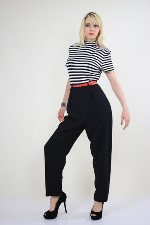 80s Nautical Jumpsuit black and white striped - shabbybabe  - 3