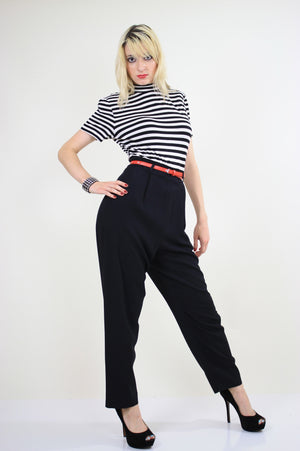 80s Nautical Jumpsuit black and white striped - shabbybabe  - 1