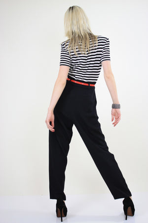 80s Nautical Jumpsuit black and white striped - shabbybabe  - 5