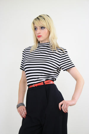 80s Nautical Jumpsuit black and white striped - shabbybabe  - 2