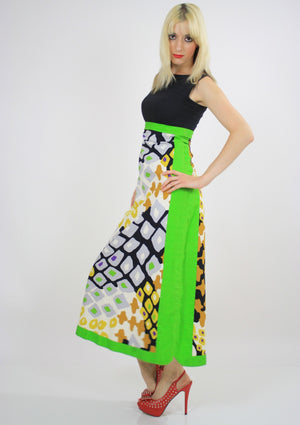 Vintage Hippie Boho Abstract Graphic Mod Maxi Dress - shabbybabe  - 3
