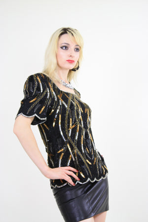 Vintage Sequin beaded party top - shabbybabe  - 2