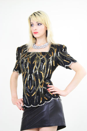 Vintage Sequin beaded party top - shabbybabe  - 3