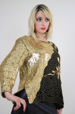 80s beaded metallic sequin top floral design sheer silk - shabbybabe  - 3