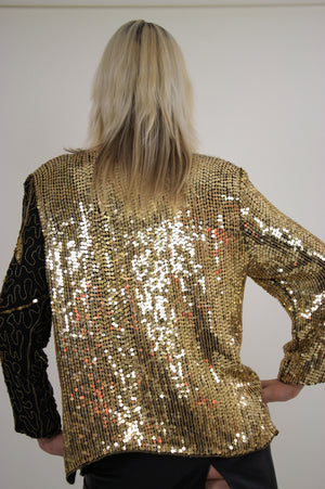 80s beaded metallic sequin top floral design sheer silk - shabbybabe  - 4