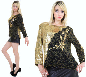 80s beaded metallic sequin top floral design sheer silk - shabbybabe  - 2