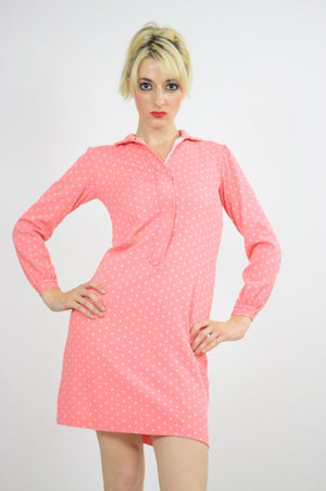 Vintage 60s Mod Dolly Pastel Pink Polkadot Mini Dress - shabbybabe  - 5