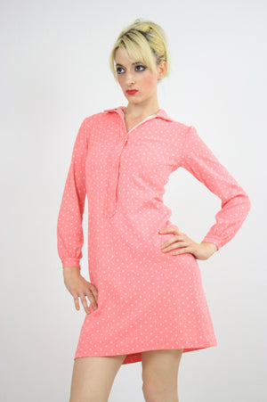 Vintage 60s Mod Dolly Pastel Pink Polkadot Mini Dress - shabbybabe  - 4