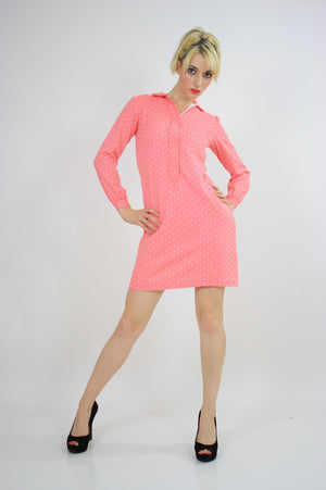 Vintage 60s Mod Dolly Pastel Pink Polkadot Mini Dress - shabbybabe  - 1