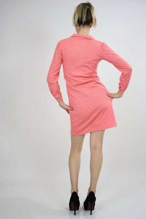 Vintage 60s Mod Dolly Pastel Pink Polkadot Mini Dress - shabbybabe  - 3