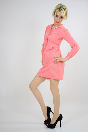 Vintage 60s Mod Dolly Pastel Pink Polkadot Mini Dress - shabbybabe  - 2