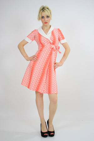Vintage 60s Mod Dolly Neon Argyle Print Mini Dress - shabbybabe  - 2