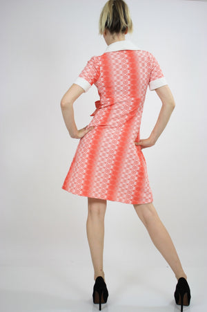 Vintage 60s Mod Dolly Neon Argyle Print Mini Dress - shabbybabe  - 3