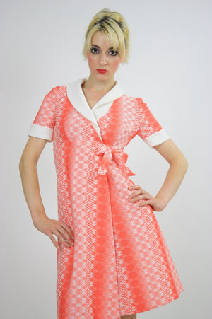 Vintage 60s Mod Dolly Neon Argyle Print Mini Dress - shabbybabe  - 1