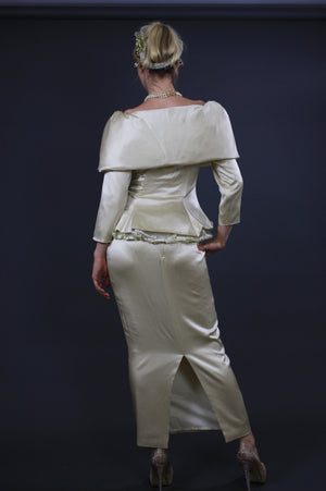 60s silk bridal off shoulder wiggle wedding dress - shabbybabe  - 3