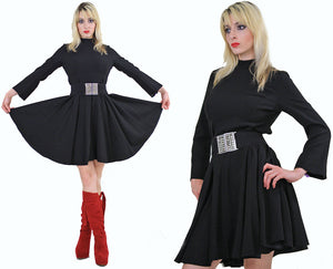 70s Boho black bell sleeve mod mini dress - shabbybabe  - 5