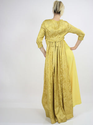 Vintage Boho Hippie Gold metallic party maxi dress - shabbybabe  - 5