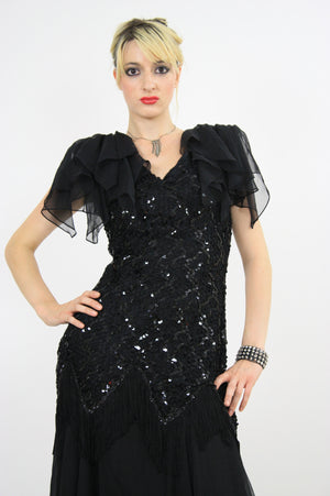 Vintage 80s sequin beaded  cocktail party dress - shabbybabe  - 2