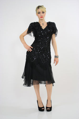 Vintage 80s sequin beaded  cocktail party dress - shabbybabe  - 1
