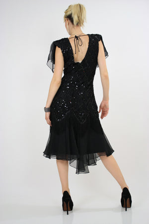 Vintage 80s sequin beaded  cocktail party dress - shabbybabe  - 6