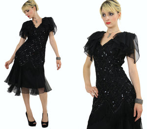 Vintage 80s sequin beaded  cocktail party dress - shabbybabe  - 3