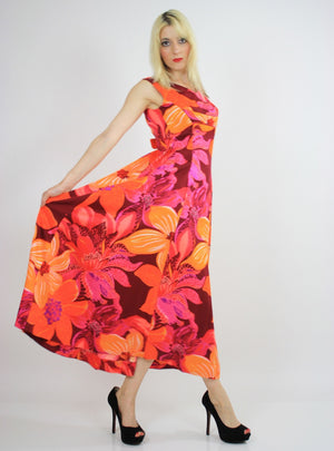 Vintage 60s 70s Neon floral Hawaiian Tent Dress - shabbybabe  - 1