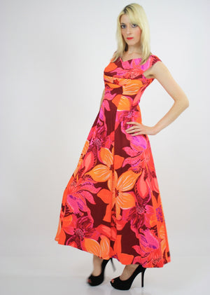 Vintage 60s 70s Neon floral Hawaiian Tent Dress - shabbybabe  - 3
