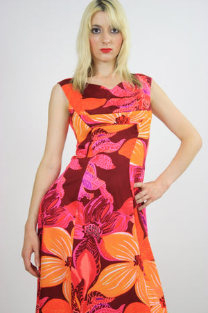 Vintage 60s 70s Neon floral Hawaiian Tent Dress - shabbybabe  - 5
