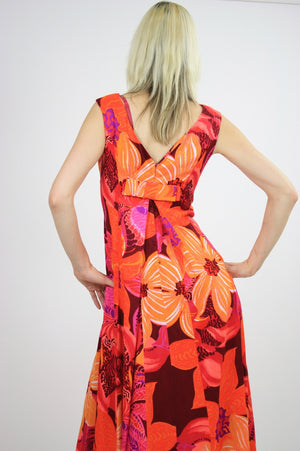 Vintage 60s 70s Neon floral Hawaiian Tent Dress - shabbybabe  - 6