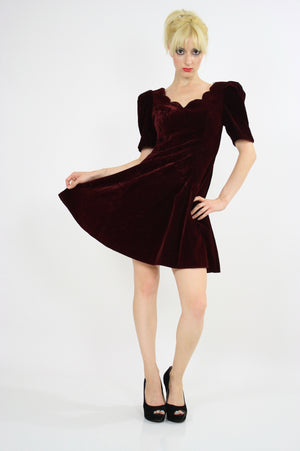 Vintage 80s Velvet  cocktail party mini dress - shabbybabe  - 4