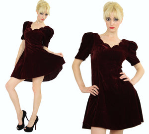 Vintage 80s Velvet  cocktail party mini dress - shabbybabe  - 3