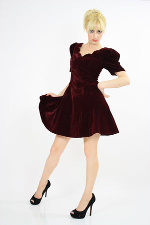 Vintage 80s Velvet  cocktail party mini dress - shabbybabe  - 2