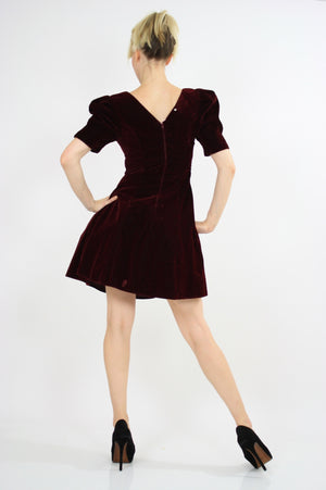 Vintage 80s Velvet  cocktail party mini dress - shabbybabe  - 6