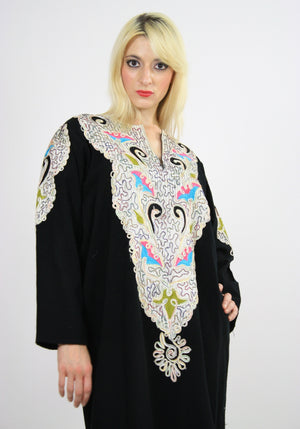 Vintage 70s Hippie Caftan Turkish Embroidered - shabbybabe  - 7