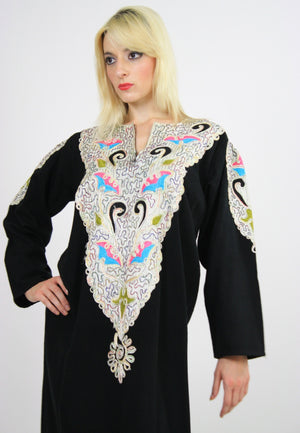 Vintage 70s Hippie Caftan Turkish Embroidered - shabbybabe  - 1