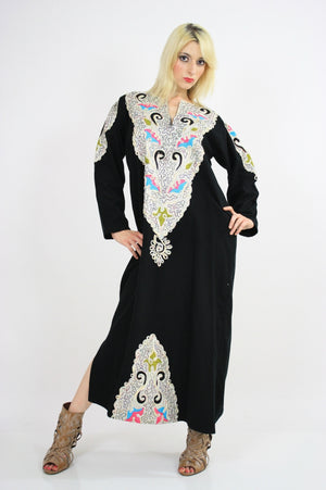 Vintage 70s Hippie Caftan Turkish Embroidered - shabbybabe  - 3