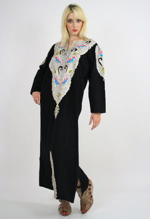 Vintage 70s Hippie Caftan Turkish Embroidered - shabbybabe  - 2
